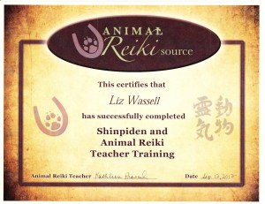 Animal Reiki Source Shinpiden certificate, 9/2012